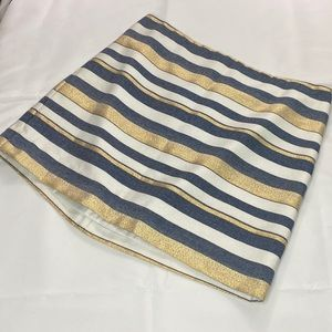 J. Crew Blue/Gold Striped Mini Skirt